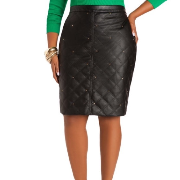 Ashley Stewart Skirts | Plus Size Black Faux Leather Skirt ...